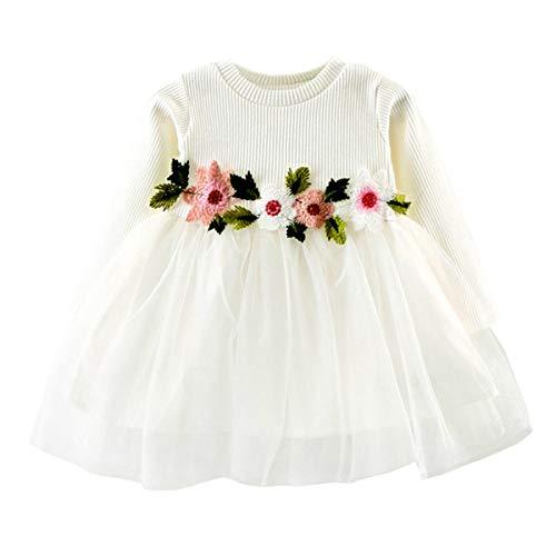 DaMohony Babymeisjesjurk met lange mouwen van katoen en mesh, bloemenjurk, feestelijk, bruiloft, optocht prinsessenjurk…