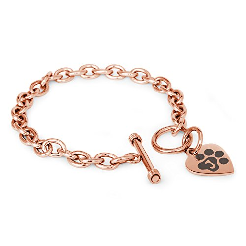 Rose Gold Plated Stainless Steel Letter J Initial Cat Dog Paws Monogram Heart Charm Toggle, Bracelet Only