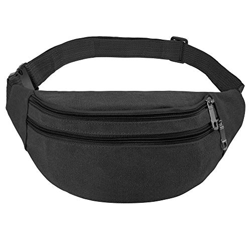 Adjustable Strap Travel Sport Waist Fanny Pack Bag(Black) ()
