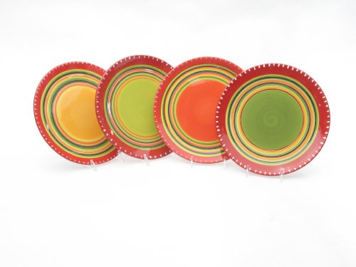 (Certified International Hot Tamale Salad/Dessert Plate, Set of 4 Assorted Designs )