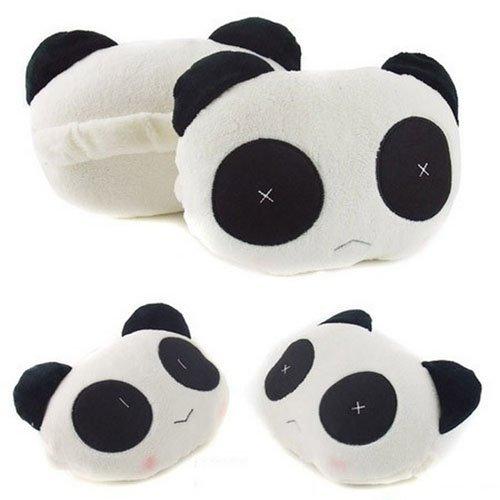Kasstino 1 Pair Cute Panda Vehicle Neck Rest Pillow Headrest Cushion Protecter Travel Car Pillow
