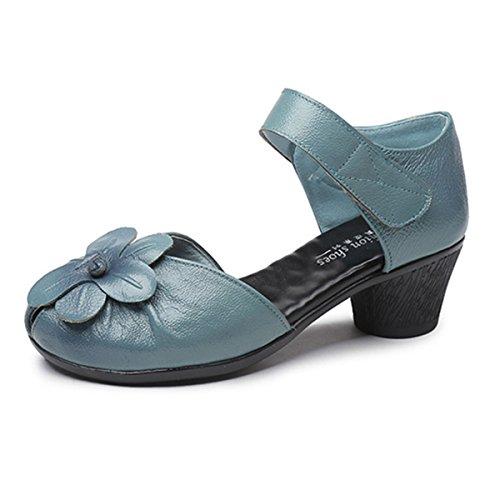 socofy Soft Leather Sandals,Retro Fashion Flower Block Hoop Loop Comfortable Round Head Mid Heel Shoes Blue 5 B(M) US