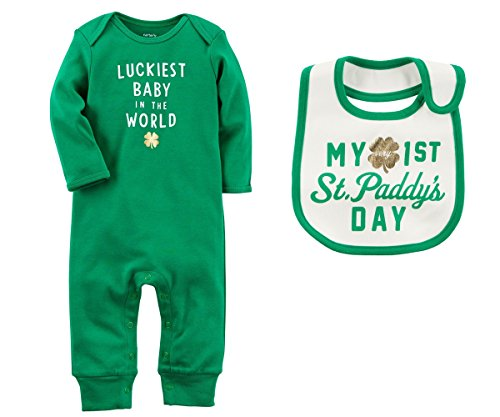 Carter's Boys or Girls Baby's First ST Patrick's Day Romper Jumpsuit and Bib Set (3 Months, Luckiest Baby In The World)]()