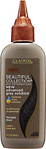 Clairol Beautiful Collection Advanced Gray Solution Hair Color, 3 fl oz -Midnight Black