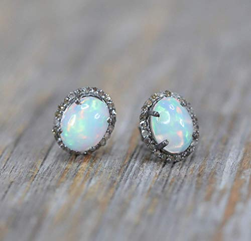 Genuine Opal Gemstone Diamond Halo Oval Stud Earring Sterling Silver- 10mm (.65 tcw)