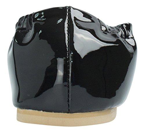 Boucle Carrée En Or Pour Femme Ballerine Plate Noire