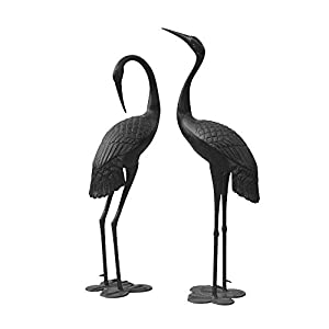 Metal Cranes for Yard Garden Sculpture Pair Statue - Upright and Preening Standing Crane Heron Couple Sculpture Set, Bronze Black