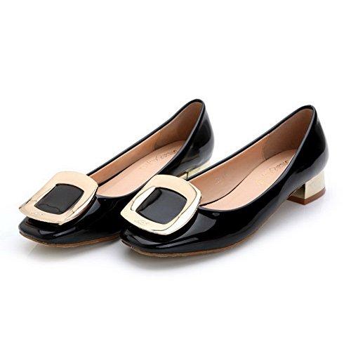 AalarDom Mujer Puntera Cuadrada Mini Tacón Material Suave Sólido De salón Negro