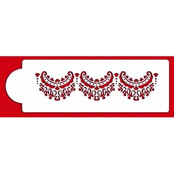 Designer Stencils C371 Alencon Lace Top Tier Cake Stencil, Beige/semi-transparent