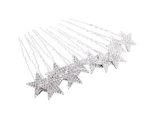 yueton 10pcs Bling Rhinestone Star Wedding Bridal Crystal Hair Pins Clips Women Headwear Hair - Accessory Star
