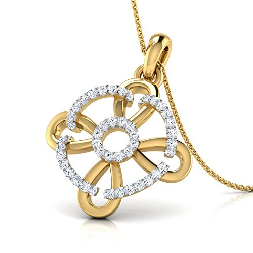 14K Or blanc 0,19CT TW Round-cut-diamond (IJ | SI) Pendentif