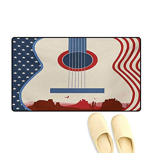 Door Mats,Country Music Festival Event Illustration Guitar with American Flag Design Print,Bath Mat Bathroom Mat with Non Slip,Cream Red Blue,24