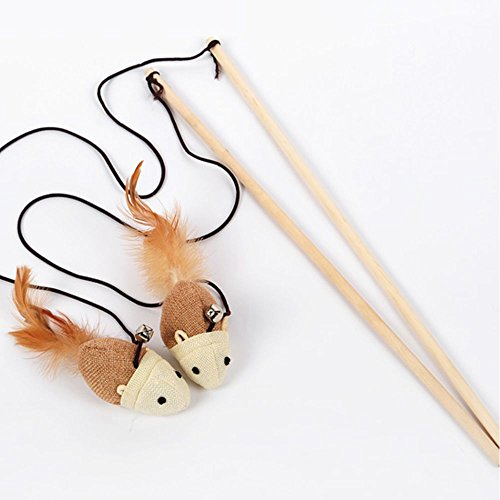Outopen Cat Kitten Toys Set Natural Sisal Wand Teasers with Mouse, Bell, Feather, Elastic String, and Sturdy Wood Rod