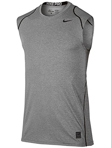 Nike Mens Pro Cool Fitted Sleeveless Shirt (Large, Carbon Heather)