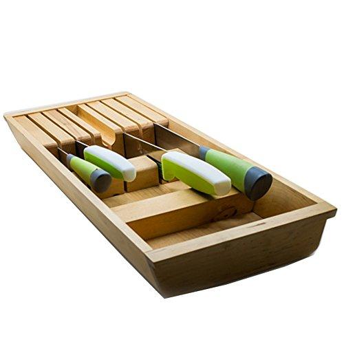 siehin messerblock f r schublade aus gummibaumholz messerhalter schubladen messerblock ohne. Black Bedroom Furniture Sets. Home Design Ideas