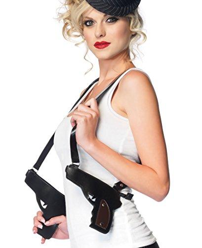 [Leg Avenue A1917 Gangster Double Gun Zipper Holster - One Size - Black] (Leg Gun Holster Costumes)