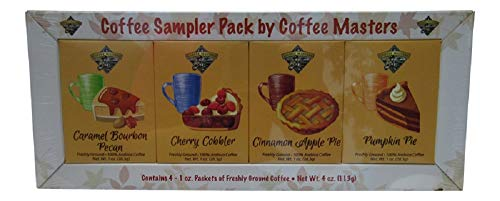 Coffee Masters Sampler Gift Pack of Gourmet Ground Coffee: Caramel Bourbon Pecan, Cherry Cobbler, CInnamon Apple Pie, Pumpkin Pie - 1 Ounce of Each Flavor