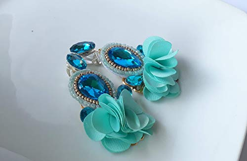 April Cyan Teal Beads, Crystals, and Tassels Earrings ()