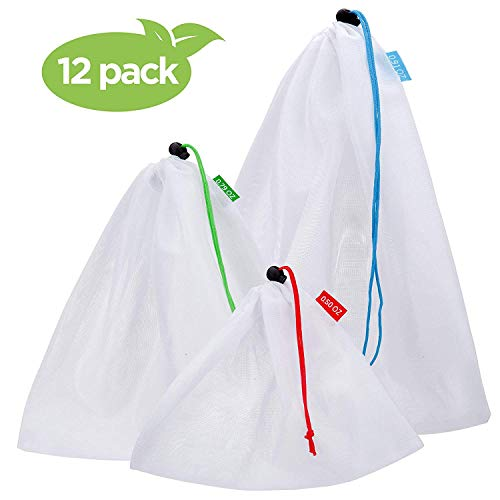 SGM Reusable Mesh Produce Bags : Pack of 12 Washable Drawstring Storage Pouches In 3 Sizes - Multipurpose See Through Bags w/Tare Weight Tag For Grocery Shopping, Toy Organization, Gym Shoe