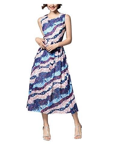 Coloré Robe Imprimée En Mousseline De Soie De Femmes Lingjiu Longue Robe Bohème Avec L'été Col Rond Manches Bowknot Comme Indiqué