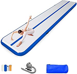 86 York 10ft 13ft 16ft 20ft Inflatable Gymnastics Air Mat Tumble Track Tumbling Mat with Pump for Gym/Home/Yoga/Training/Kids/Sport/Taekwondo/Game