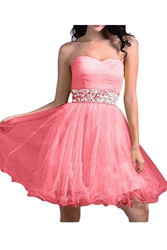 Por la noche en forma de corazón de la Toscana nupcial novia vestidos de tul vestido corto al para mujer vestidos de cóctel Wassermelone