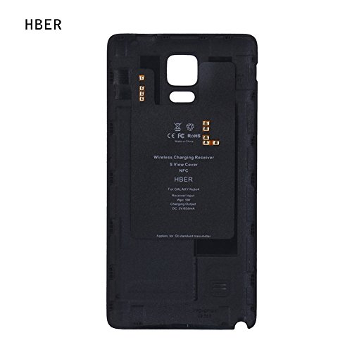 H-BER Charger Case Samsung Galaxy Note 4 Portable Wireless Charging Receiver Battery Cover Applies for Qi Standard Transmitter (Black)