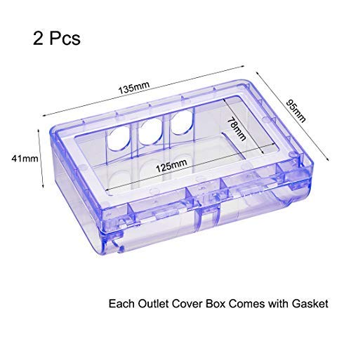 Weatherproof outlet cover Plug Receptacle protector in indoor use 135x95x41mm Blue 3 pieces
