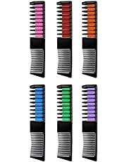 Temporary Hair Chalk Color Set Non-Toxic Washable Hair Chalk Comb 6 Color