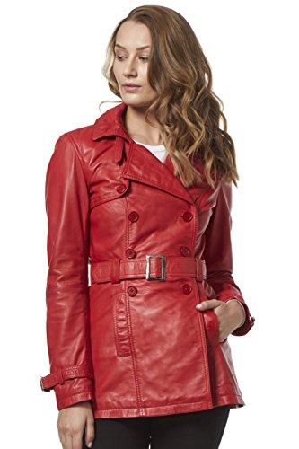 Trench 'Ladies Real Leather - Chaqueta clásica de lujo, roja, estilo clásico