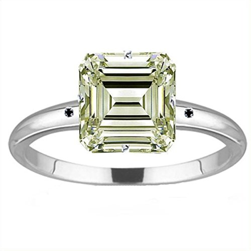 RINGJEWEL 6.48 ct SI1 Emerald Moissanite Silver Plated Engagement Ring Off White Color Size 7. by RINGJEWEL