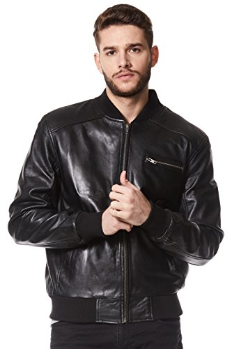 Smart Range Men's Seventies Classic 70'S Bomber Lambskin Leather Jacket X-Large Black