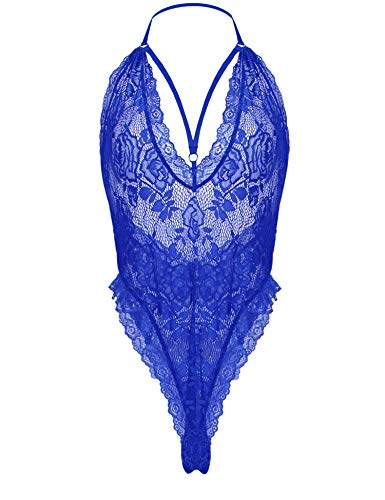 Avidlove Women Lace Bodysuit Lingerie Deep V Teddy Sexy One Piece Halter Sleepwear Blue Medium