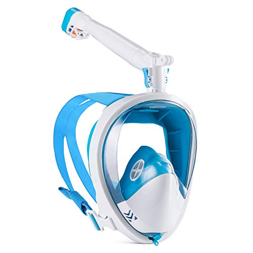 GroHoze Full Face GoPro Compatible Snorkel Mask with 180° Panoramic Viewing and Advanced Breathing System for Snorkeling and Diving - Blue & White, ()