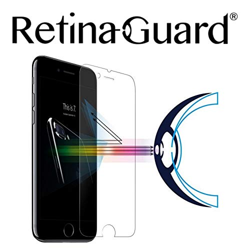 RetinaGuard Anti Blue Light Tempered Glass Screen Protector for iPhone 7, SGS and Intertek Tested, Blocks Excessive Harmful Blue Light, Reduce Eye Fatigue and Eye Strain (Transparent)