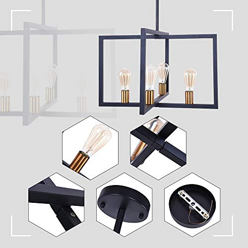 Lingkai Modern Kitchen Island Light 4-Light Pendant Light Dining Chandelier Ceiling Lighting Fixture Industrial Matte Black with Antique Brass Finish by Lingkai (Image #3)
