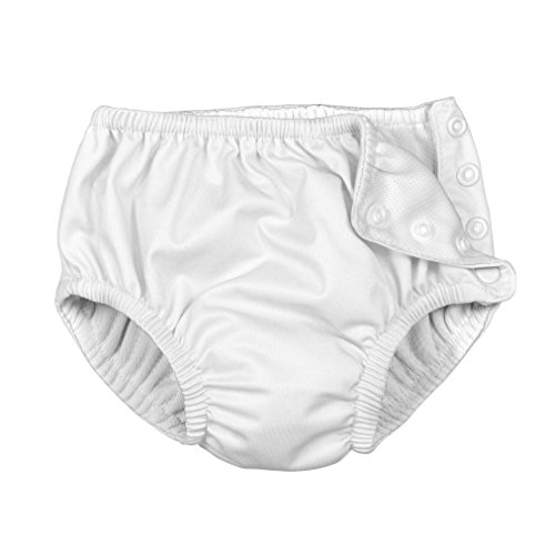 i play. Toddler Snap Reusable Absorbent Swim Diaper, New White, 3T