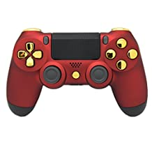 "Matte Red & Gold ""Soft Touch"" PS4 Modded Rapid Fire Controller, Works With All Games, COD, Rapid Fire, Dropshot, Akimbo & More"