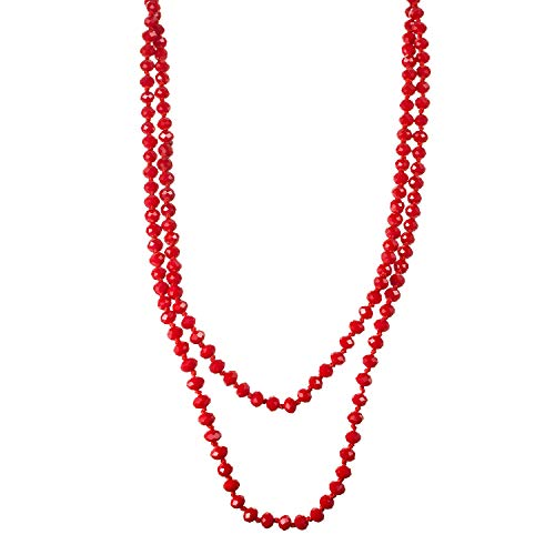 SWEETRAINBOWN Colored Glass Beaded Sweater Necklace,Long Endless Handmade Strand Necklace Knotted Jewelry Costume60 Red]()