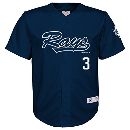 (Outerstuff MLB Tampa Bay Rays Boys Player Longoria Fashion Jersey, Athletic Navy, 6/7)