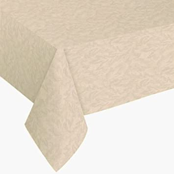 Elegant Sonoma Damask Print Flannel Backed Vinyl Tablecloth, 52x70 Oval, Vanilla
