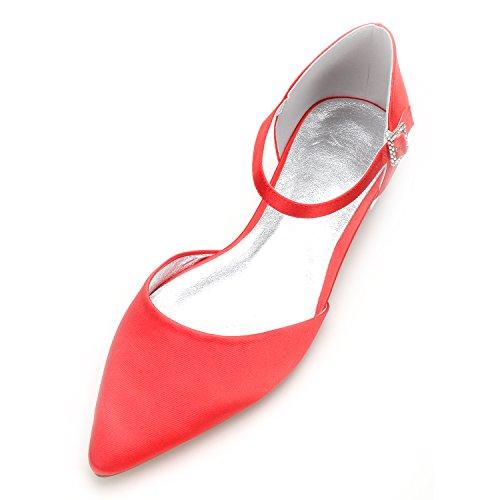 moda Scarpe raso della Il Qingchunhuangtang partito cantieri di Alla seta con scarpe Donna basse grandi scarpe alla punta matrimonio scarpe rosso luce PPHSBRfO
