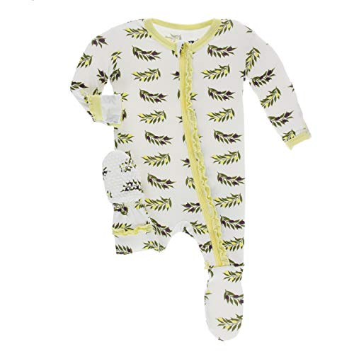 Kickee Pants Little Girls Print Muffin Ruffle Footie with Zipper - Natural Olive Branch, 2T (Comfy Bodysuit)