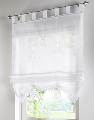 1pcs Liftable Roman Shades Tap Top Rod Pocket LivebyCare Sheer Balcony Window Curtain Voile Valance Drape Drapery Panels for Bedroom Decor Decorative