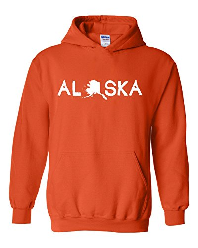 Ugo What to do in Alaska? Map AK Last Frontier Flag Home of University of Alaska Unisex Hoodie - Outlets Orange Map