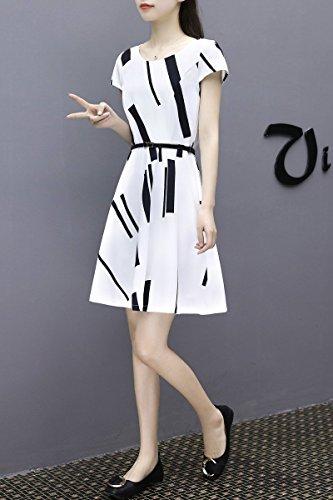MiGMV?Vtements pour Femmes Robes est Simple, Slim, Blanc, ray, Manches Courtes, Un Moyen, Jupe, Robe de Mousseline de Grande Taille,S,Robe Noire et Blanche