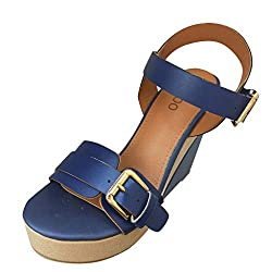 Answerl Women S Wedge Sandals Rome Rubber Leather Buckle Strap Super High Heel Platform Sandal Shoes Blue