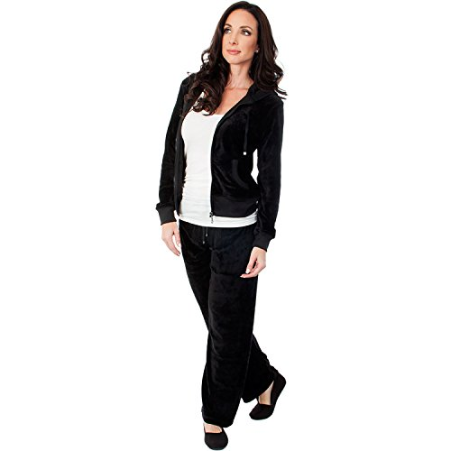 Agiato Womens Zip Up Plush Soft Velour Jogging Track Suit (Black, XL) (Velour Suit Jogging)