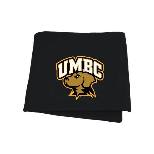 CollegeFanGear UMBC Black Sweatshirt Blanket 'Official Logo - Arched UMBC w/Retriever'