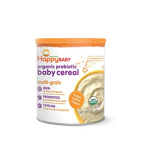 - Happy Baby Organic Probiotic Baby Cereal with Choline Multi-Grain, 7 Ounce Canister (Pack of 6) Organic Baby Cereal with Iron & Choline to Support Baby's Brain Development, a Great First Food